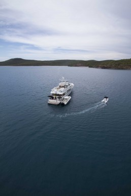 Aerial view of survey vessel and tender.