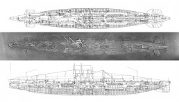 A photomosaic of AE1's wreck site produced using the photos captured at the time of discovery, shown against the construction plans of the submarine. Image copyright: Australian National Maritime Museum