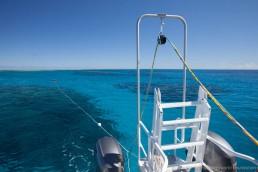 Magnetometer fish deployed behind survey boat, Maggie III. Image: Julia Sumerling for Silentworld Foundation, 2017.