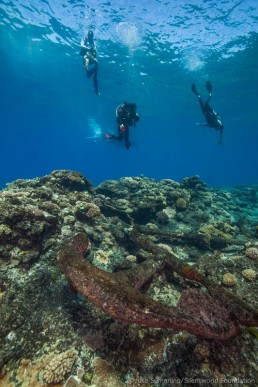 Divers descend on anchors are on a wreck site at Kenn Reefs. Image: Julia Sumerling for Silentworld Foundation, 2017.