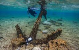 Maritime archaeologist, Peter Illidge investigates an anchor on the reef top at high tide at Kenn Reefs. Image: Julia Sumerling for Silentworld Foundation, 2017.