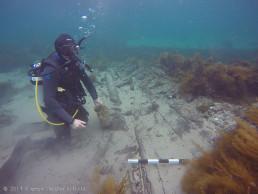 South Australian Maritime Museum Director Kevin Jones (Rtd.), inspects the wreck site. Copyright: Kieran Hosty/ANMM