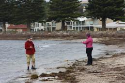 MaP Fund founder, Mark Staniforth and Flinders masters student, Adeena Fowke set up datums on the shore. Copyright: Irini Malliaros/Silentworld Foundation