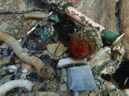 A collection of debris and artefacts collected in a groove between hull timbers. Includes copper alloy bolt, flint, blue and white transfer ware sherd, stonware sherd and free calcareous shipworm tunnel lining tubes. copyright: Irini Malliaros/Silentworld Foundation
