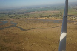 Areas image of the temporarily dry bed of Lake Mulwala showing old channel. Copyright: Brad Duncan