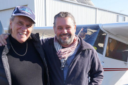 Maritime archaeologist, Dr Brad Duncan (right), and pilot Kaz Gurney next to the plane used for the survey.