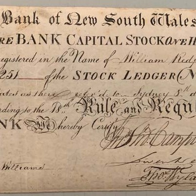 bank share certificate - bank of NSW