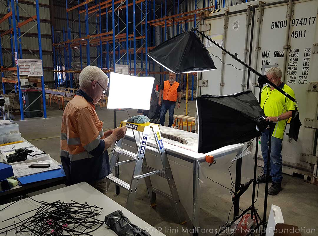 Photographing unwrapped timber. Image: Irini Malliaros/Silentworld Foundation for Sydney Metro, used with permission.