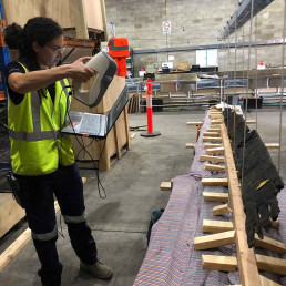 Scanning a plank. Image: Heather Berry/Silentworld Foundation for Sydney Metro, used with permission.