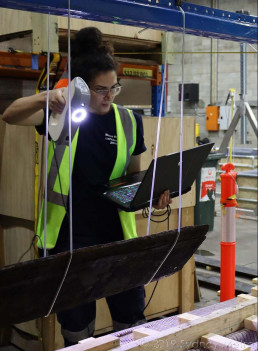 Scanning timber. Image: Silentworld Foundation for Sydney Metro, used with permission.