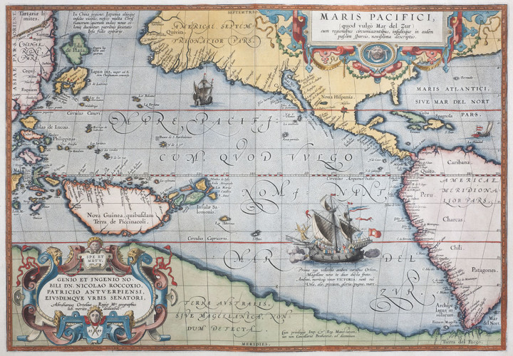 Map. Hand coloured copper engraving. Maris Pacifici. 345mm x 497mm. Antwerp, 1595. The first printed map to be devoted solely to the Pacific, and the first to name North and South America separately. It includes most of North and South America...