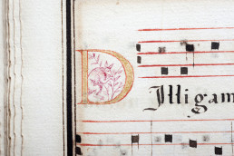Image from the Portuguese Processional, c1600. Silentworld Collection 001060. Featuring what appears to be an illustration of a kangaroo in red ink, encircled by the 'D'.