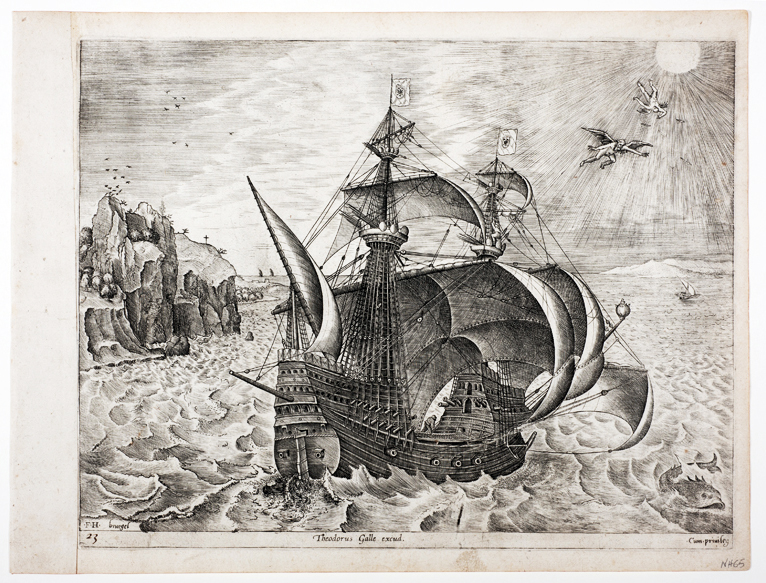Print depicting a three Master Carrack. Breugel the Elder, 1565. Silentworld Collection SF001134.