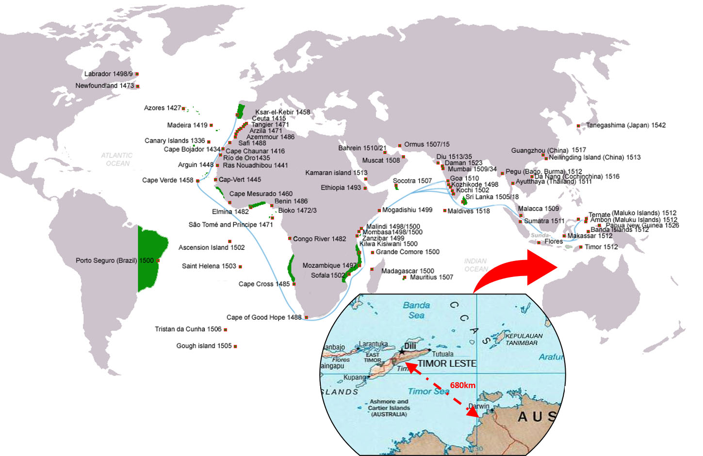 Portuguese maritime exploration from 1400 to 1550.