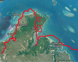 Outline of the northernmost point of Terra Australis by Theodore de Bry 1599, overlaid on a satellite map of Cape York. Image credit: Google Earth.