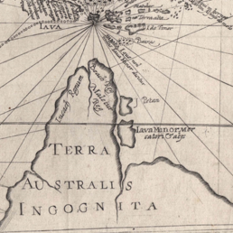 Chart Terra Australis Incognita by Theodore de Bry, 1599. The area presented looks similar to Cape York.