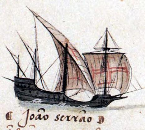 Close-up shot of an ink illustration. Portuguese Caravel 1500s. By Unknown author - Livro das Armadas.