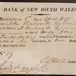 Printed subscription receipt – Bank of New South Wales
